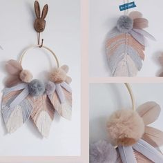 Simple details to decorate your walls and home Easy Crafts To Make, Diy Arts And Crafts, Diy Crafts, Macrame Wall Hanging Diy, Pom Pom Crafts, Macrame Tutorial, Macrame Projects, Diy Wall Decor, Easter Crafts