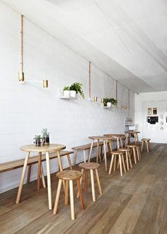 Café and coffee shop interiors. Small Restaurant Design, Deco Restaurant, Restaurant Seating, White Restaurant, Cafe Seating, Coffee Shop Interior Design, Coffee Shop Design, Cafe Design, Cafe Concept
