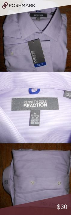 Kenneth Cole Reaction Mens Shirt Size 15 - 15 1/2 NWT Kenneth Cole Reaction Men's Purple Slim Fit Shirt.  This shirt is a size 15 - 15 1/2  34/35. Shirt is brand new with tags attached. Kenneth Cole Shirts Dress Shirts