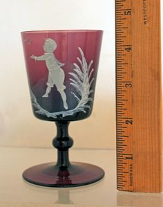 Antique Mary Gregory Amethyst Gold Rimmed Wine Glass Boy Birds