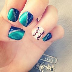 Seattle mariners nail art! Baseball nail art:)