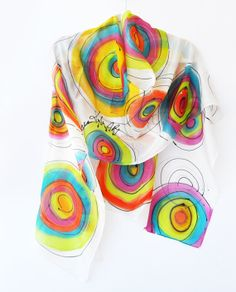 Handmade Scarf. Hand Painted Long Silk Scarf by KatarzynaKaMaART, $57.00