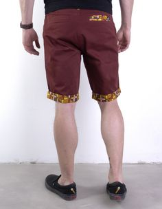 Man shorts in burgundy colour with elements made of African fabrics Ankara