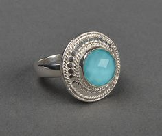 Turquoise Round Ring by Anna Beck - Silverscape Designs