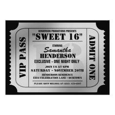 "Sweet Sixteen VIP Ticket Style Party Invitations 5"" X 7"" Invitation Card"