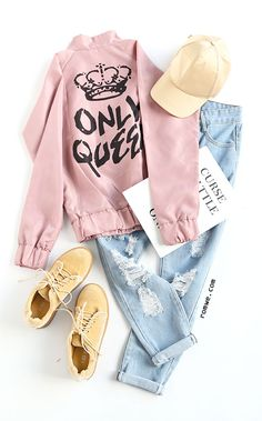 Pink Raglan Sleeve Letters Print Jacket with ripped blue denim and cozy sneakers from romwe.com