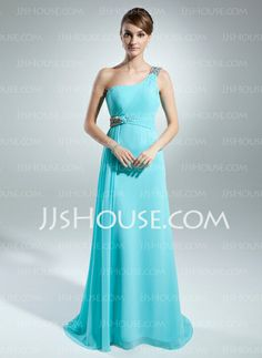 Mother of the Bride Dresses - $138.99 - A-Line/Princess One-Shoulder Sweep Train Chiffon Mother of the Bride Dress With Ruffle Beading (008015537) http://jjshouse.com/A-Line-Princess-One-Shoulder-Sweep-Train-Chiffon-Mother-Of-The-Bride-Dress-With-Ruffle-Beading-008015537-g15537
