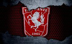 Download wallpapers Twente, 4k, logo, Eredivisie, soccer, football club, Netherlands, grunge, metal texture, Twente FC