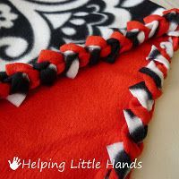 Braided edge (not tied) fleece blankets. Here's the best tutorial for the braided edge, Mrs. Cindy. And I used a crochet hook, which made it easier as well.