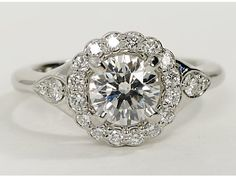 Flora Vida Halo Diamond Engagement Ring in Platinum -- You know, in case someone wants to drop over 9k on a ring, :P