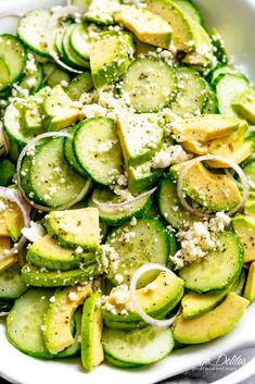 Avocado Feta Cucumber Salad with a delicious Greek inspired salad dressing or vinaigrette! The best side salad for any main meal.