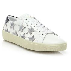 Saint Laurent Court Classic Leather & Metallic Star Sneakers