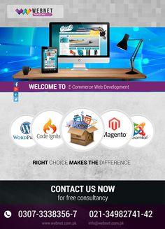 E-Commerce Web Development - Right Choice Makes the Difference. Contact us : 021- 34982741-42 http://webnet.com.pk info@webnet.com.pk