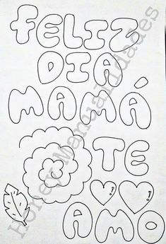 Abc Font, Lettering Styles, Graffiti Lettering, Mouse Parties, Art Drawings Sketches, Coloring Sheets, Diy Flowers, Flower Patterns, Diy And Crafts