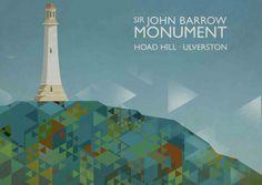 Hoad Hill & The John Barrow Monument - Ulverston, Cumbria Original graphic poster art designed in The Northern Line studio in Ulverston, Cumbria. We ship worldwide.