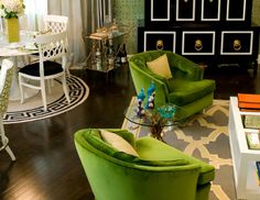green and black At My Chic Nest, we love a sexy green side chair. Check out our tufted Jess lounge chair.