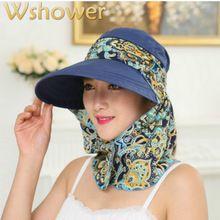 Que en la ducha protección UV floral mujeres verano plegable Sol sombrero  Masajeadores de cuello Cara e17f923a2b4
