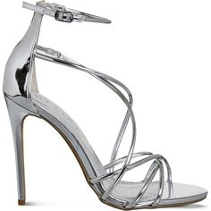 OFFICE Angel metallic heeled sandals (555 DKK) ❤ liked on Polyvore featuring shoes, sandals, silver mirror, high heel sandals, heeled sandals, strappy heel sandals, strap sandals and open toe sandals