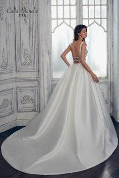 276be7d935 calla blanche spring 2017 bridal sleeveless with strap deep plunging v neck  lightly embellished bodice clean side open romantic a line wedding dress  open ...