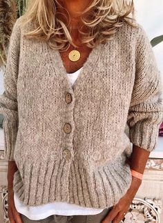 Solid Cable-knit Chunky knit V-Neck Cardigan - Sweaters - veryvoga Plus Size Sweaters, Casual Sweaters, Boho Sweaters, Loose Knit Sweaters, Casual Tops, Casual Shirts, V Neck Cardigan, Sweater Cardigan, Chunky Knit Cardigan