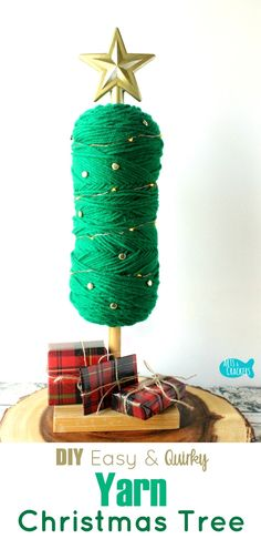 This Easy No-Sew Yarn Tree is a quirky and fun Christmas decoration | Yarn Tree Tutorial | DIY Yarn Tree | Yarn Tree | Yarn Skein | Yarn Crafts | Yarn Ball Craft | Christmas Tree | Christmas Decor | Holiday Decor | Quirky Crafts | Tree Topper | 5 Minute Crafts | Easy Crafts | No Sew | DIY Project | Home Decorating | Christmas Lights | Crafts for Beginners | Bobby Pins | Custom Decor