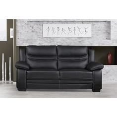 Delicieux US Pride Furniture Winnie Bonded Leather Modern Loveseat (Black Bonded  Leather Lovesea)