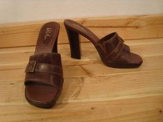 Womens Arezzo Brazil Brown Leather Sandals Mules Heels Size 7 37 Wild Pair | eBay