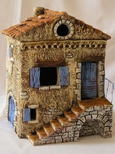Discover thousands of images about Paul Garrel, Artisan Santonnier Clay Houses, Ceramic Houses, Miniature Houses, Ceramic Clay, Ceramic Pottery, Clay Fairy House, Gnome House, Fairy Garden Houses, Pottery Houses
