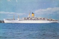 Orient Line's SS Oronsay, in P&O white hull livery. P&O took over Orient Line in 1960 and the corn coloured hull was gradually phased out. 1951-1975.