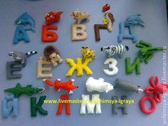 Развивающие игрушки ручной работы. Ярмарка Мастеров - ручная работа. Купить Животные из фетра + алфавит. Handmade. Алфавит, холлофайбер