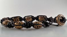 "Knotted 1.5 mm Black Leather Bracelet    Gold Tone Beads    Metal Button    7-1/4"" in Length 