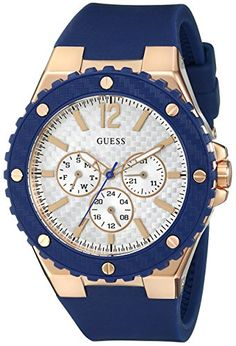 GUESS Womens U0452L3 Sporty Oversized MultiFunction Watch on a Comfortable Navy Blue Silicone Strap with Rose GoldTone Accents ** More info could be found at the image url.
