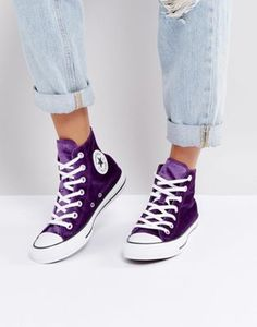 Converse Chuck Taylor High Trainers In Purple Velvet