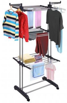 984baa8699b Yeshom Foldable 3 Tier Clothes Drying Rack Rolling Collapsible Laundry Dryer  Hanger Stand Rail Indoor Outdoor Dark Grey