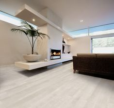 rovere bianco wood effect tile.jpg - contemporary - living room - by Geologica Store Wood Effect Tiles, Home, Living Room Flooring, House Tiles, New Homes, House Flooring, Living Room Tiles, House Interior, Contemporary Tile Floor