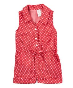 Take a look at this Red Polka Dot Tie-Waist Button-Up Romper - Girls today!