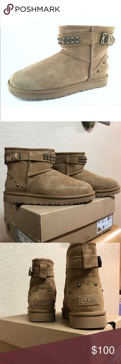 NIB UGG BOOTS NIB Chestnut Neva Deco short Ugg boots. Size 9. New in box. These were never worn!! My bestie decided they are not her style!! Make and offer!!😃 UGG Shoes Winter & Rain Boots