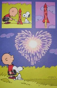 Charlie Brown and Snoopy.  Fireworks