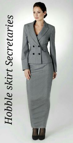 Smart elegant hobble skirt suit for secretaries Skirt Suit, Suit Jacket, Hobble Skirt, Business Outfits, Well Dressed, Suits For Women, Peplum Dress, Secretary Outfits, Cool Outfits