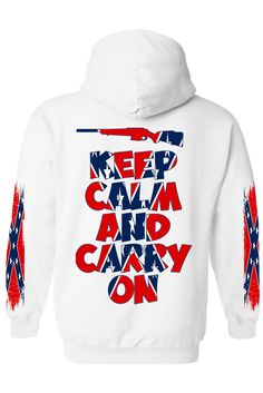 24e65e4a Men's Rebel Flag Zip-Up Hoodie Keep Calm And Carry On 4 Sides Graphic