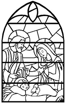 Holy Family Stained Glass Nativity Coloring PagesChristmas