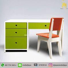 Meja Belajar Anak Desain Modern Terbaru Jepara - meja belajar dengan kursi di desain menarik dengan rak dan lemari laci serbaguna.