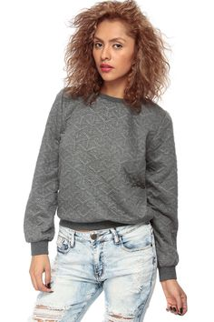 Charcoal Shimmered Crew Neck Sweater @ Cicihot Clothing,sexy club wear,women's party wear,sexy clothes,evening dress,v neck sweater dress,cashmere sweater dress Online Store