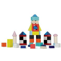 Get ready to design, construct and play with this 50 pc set of whimsical building blocks by Janod. Manufactured by Janod. Recommended for 2 years, 3 years, 4 years.