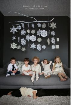 10 Times Paper Snowflake Decorations Actually Looked Pretty Fancy. Lila Was Here hung snowflakes from a painted tree branch. Noel Christmas, Christmas And New Year, All Things Christmas, Winter Christmas, Xmas, Modern Christmas, Christmas Snowflakes, Christmas 2019, Christmas Christmas