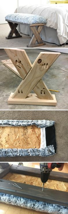 DIY Upholstered X Bench. X Bench, Benches, Upcycled Furniture, Furniture Ideas, Diy Bank, Easy Wood Projects, Rustic Table, Different Shapes, Ideas Para