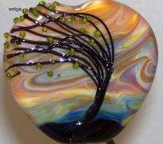 WSTGA~CHANGING WINDS ARE BLOWING~TREE handmade lampwork focal glass bead SRA