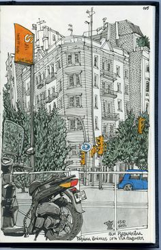 Sketchbook Drawing sketchbook-motorcycle - This snippet of a street scene in Barcelona comes from illustrator Miguel Herranz, who also writes about the couple sitting beside him in a cafe while he was drawing. His narrative is as interesti… Travel Sketchbook, Art Sketchbook, Illustration Art, Illustrations, Urban Sketchers, Sketchbook Inspiration, Moleskine, Drawing Sketches, Painting & Drawing