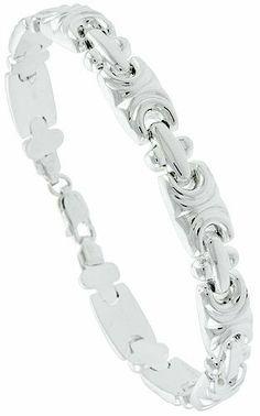 "7"" Sterling Silver Italian Stampato Bracelet w/ Fancy Links, 5/16"" (8mm) wide Sabrina Silver. $73.00 Jewelry Bracelets, Bling, Fancy, Sterling Silver, Gold, Gifts, Pocket, Friends, Clothing"