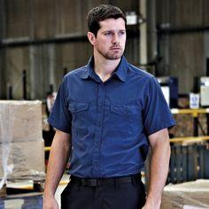 Men's Sun Protective Travel Trekker Shirt, Short Sleeve, Blue